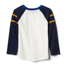 Stripe-sleeve baseball tee | Gap ❤ liked on Polyvore featuring tops, t-shirts, striped sleeve t shirt, sleeve t shirt, sleeve top, stripe top and baseball tshirt