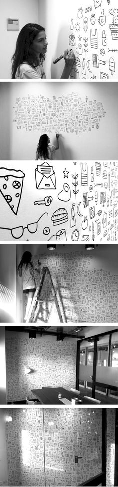 Doodle wall art hand drawn illustration by PUDISH Japan Design, Illustration Inspiration, Illustration Art, Mural Art, Wall Murals, Mural Painting, Art Paintings, Doodle Wall, Posca Art