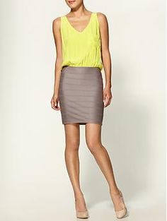 Pretty dress with fitted tan bandage skirt + citron pocketed tank!