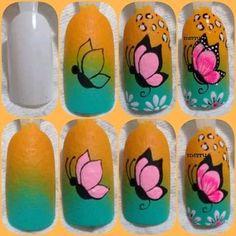 Nail Art Diy, Diy Nails, Emoji Nails, Merry Christmas Gif, Manicure, Butterfly Nail Art, Mehndi Designs, Beauty Skin, Nail Art Designs