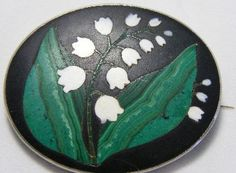 Antique brooch by Pietra Dura.  Lily of Valley . Victorian. try in clay?