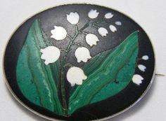 Antique Victorian brooch pietra Dura Lily of Valley