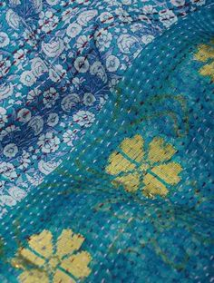 Blue-Yellow Reversible Kantha Embroidered Silk Shawl