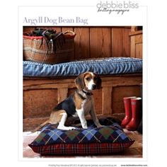 Argyle Dog Bean Bag, Debbie Bliss Knitting Fall/Winter 2009 by Debbie Bliss Bean Bag Dog Bed, Bean Bag Pattern, Dog Cushions, Knitting Books, Knitting Magazine, Creature Comforts, Sleeping Dogs, Yarn Projects, Warm And Cozy