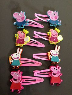 PEPPA PIG Hair Clips (2x) OR  Rebecca Rabbit, George Pig. Peppa pig Characters. on Etsy, $4.99 AUD
