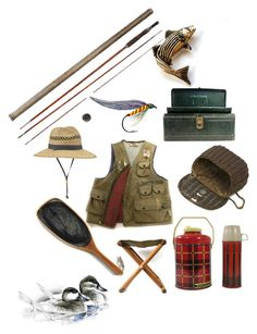 On the Fly - One Stop Fly Fishing Accessories by patack on Polyvore featuring Columbia, Sarreid, Volare, vintage, men's fashion and menswear