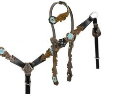 Showman ® One ear headstall with cut out filigree tooling accented teal painted tooled flower