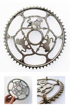 """""""Peugeot bicycle sprocket-trivet""""  Origin: France, 1905-1920 Material: Metal"""