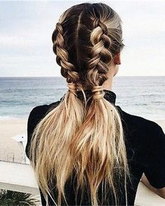 Wonderful double braids hairstyle that takes no time to do
