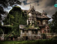 This abandoned manor was owned by a German family. The wealthy family moved to Belgium during one of both world wars. HDR - Belgium, Sint-Job Chateau Nottebohm