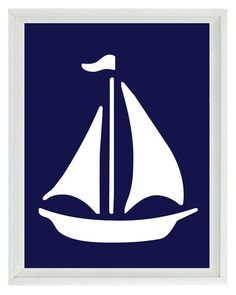 Sailboat Wall Art Print - Navy Blue White - Nautical Nursery Children Room Home Decor 8x10 via Etsy