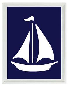 Sailboat Wall Art Print  - Navy Blue White - Nautical Nursery Children Room Home Decor 8x10 via Etsy
