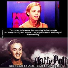 When Hermione become Professor McGonagall.and Draco become Dumbledore.and Harry becomes Snape I don't want this to happen! They can't remake Harry Potter! Harry Potter Puns, Harry Potter Cast, Harry Potter World, Drarry, Dramione, Ron Et Hermione, Ron Weasley, Hermione Granger, Fans D'harry Potter
