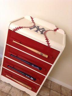 Baseball Dresser With Mini Bat Drawer Pulls Baseball Dresser, Baseball Furniture, Baseball Nursery, Baseball Bathroom, Boy Dresser, Dressers, Dresser Ideas, Decoration Design, Kids Furniture