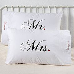 Mr. and Mrs. Collection Personalized Pillowcase Set
