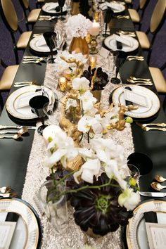 Opulent tablescape for a black and white party (with a little gold for some bling)