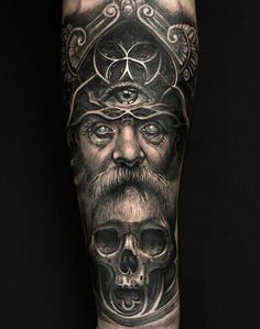 Realistic Viking tattoo of Odin on the arm.- Realistic Viking tattoo of Odin on the arm. With the third eye and a skull …. Viking Tattoo Sleeve, Norse Tattoo, Sleeve Tattoos, Viking Tattoos For Men, Small Tattoos For Guys, God Tattoos, Body Art Tattoos, Desenhos Halloween, Rabe Tattoo