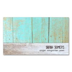 Cute Country Rustic Weathered Turquoise Wood Business Card Templates