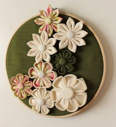 Embroidery hoop with Fabric Kanzashi Flowers, Floral Decor