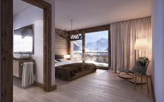 Apartments at Grindelwald, Switzerland, bedroom, wood, bathroom