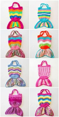 Handmade Mermaid Crochet Knit Bags. Cute for kids to tote around and store treasures and toys!
