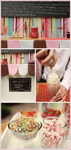 A retro milkshake bar for a wedding...LOVE it!