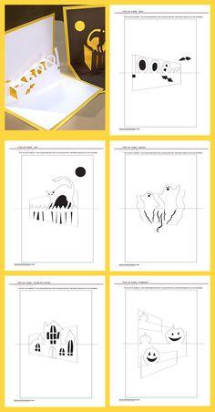 Halloween Pop-Up Cards Kirigami Patterns, Card Patterns, 3d Cards, Paper Cards, Halloween Pop Up Cards, Pop Up Karten, Libros Pop-up, Pop Up Invitation, Tarjetas Pop Up