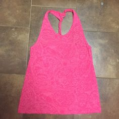 Sheer hot pink athletic tank Like new strappy athletic tank - sheer with pattern (see pic). Size small. BCG - hot pink. Great condition. Tops Tank Tops