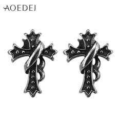 AOEDEJ Cross Earrings Studs For Men Stainless Steel Punk Mens Earrings Black Stud Biker Fashion Jewelry Brincos Para As Mulheres