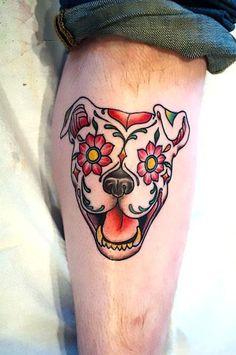 Sugar Skull Pitbull Tattoo Idea