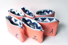 Personalized Cosmetic Bags, Navy & Coral #wedding #bridesmaid #gift