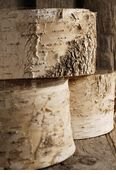 """Natural Birch Bark Covered Round Pots 6.5"""" Width   $5.49 each / 3 for $5 each"""