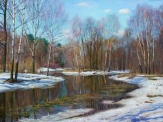 """""""Paint by Stanislav Brusilov Landscape Paintings, Watercolor Paintings, Russian Landscape, Painting Competition, Academic Art, Russian Painting, Winter Painting, Realistic Paintings, Art Academy"""