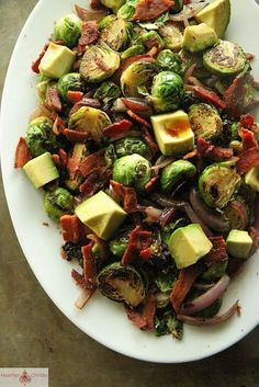 Use turkey bacon and this is great for Phase 3 of the Fast Metabolism Diet. Brussels Sprouts with Bacon, Red Onion and Avocado | Easy Cookbook
