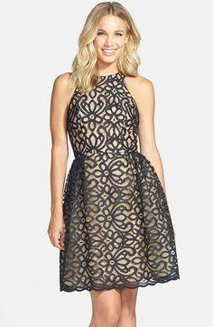 Monique Lhuillier Lace Fit & Flare Dress on shopstyle.com