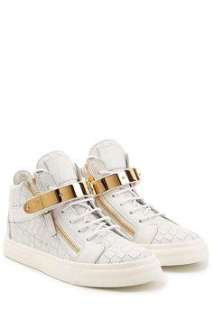 #Giuseppe #Zanotti #Geprägte #High, #Top, #Sneakers aus #Leder #, #Weiß für…
