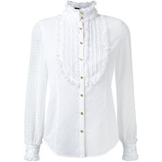 Loveless Ruffled Dotted Blouse (170 CAD) ❤ liked on Polyvore featuring tops, blouses, long sleeves, white, cotton blouses, polka dot blouses, white tops, frilly blouse and white polka dot blouse