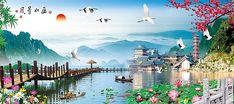 Chinese heaven Backgrounds Images, PSD and Vectors Graphic Resources Free Video Background, Love Background Images, Cute Galaxy Wallpaper, Flower Wallpaper, Beautiful Landscape Wallpaper, Beautiful Landscapes, Altar Design, Green Screen Video Backgrounds, Twitter Header Aesthetic