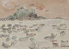 Jean FUSARO (né en 1925) - Sète, le Mont Saint Clair et l'étang de Thau Sainte Claire, Vintage World Maps, Artists, Painting, Painting Art, Paintings, Painted Canvas, Artist, Drawings