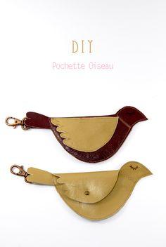free pattern bird leather purse porte monnaie oiseau 0