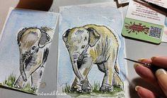 Ich brachte es nicht übers Herz  nur einen zu malen Sind doch Herdentiere  (diese zwei kleinen Elefantenbaby-Illus gibt's im Original - auf Anfrage schon jetzt und demnächst im Shop.  EINS wird kindernachttischtauglich gerahmt und eins voraussichtlich als Lesezeichen ausgearbeitet - sobald sie trocken hinter den Ohren sind.  Material: Schmincke Künstlerfarben Horadam auf @hahnemuehle Britannia 300g rauh @winsorandnewton Series 7 Sable miniature Pinsel No. 000 Fotovorlage lizenziert via…