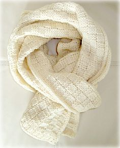 SALE Hand Knit Scarf  Off White Colour Handmade by InkaBoutique, $35.00