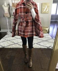 How to wear a cape - red plaid cape christmas outfit petite poncho riding boots winter outfit