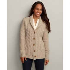 Eddie Bauer Women's Heritage Cable Cardigan Sweater Sweater