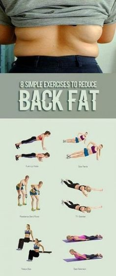 Belly Fat Workout - Lose Fat Belly Fast - 8 Simple Exercises To Reduce Back Fat Fast Fitness Workouts, Sport Fitness, Easy Workouts, Fitness Diet, At Home Workouts, Health Fitness, Yoga Fitness, Workout Routines, Workout Ideas