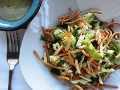 Castellon's Kitchen: Nappa Cabbage Salad with Ginger Garlic Dressing Napa Cabbage Recipes, Napa Cabbage Salad, Salad Bar, Soup And Salad, Kitchen Recipes, Cooking Recipes, Spring Recipes, Clean Recipes, Food For Thought