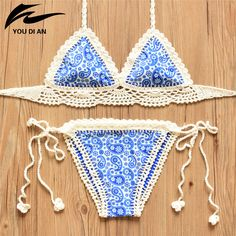 2016 Summer Crochet Bikini New Arrival Sexy Handmade Knitted Biquini Set Women Halter Bordered Swimsuit Push Up Bikini Swimwear