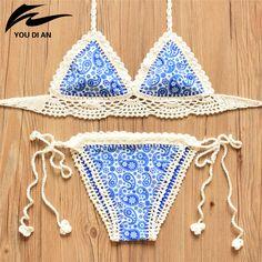 2016 Summer Crochet Bikini New Arrival Sexy Handmade Knitted Biquini Set Women Halter Bordered Swimsuit Push Up Bikini Swimwear