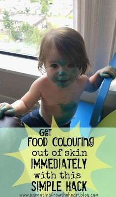 My two-year-old covered her skin with food colouring, this hack to get food colouring out of skin in no time at all. It's SUPER easy and takes no elbow grease!