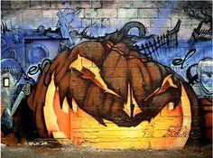 Street art pumpkin Halloween, All Hallows Eve, Funny, Trick or Treat, Witch, Goblin, Ghost, Black Cat, Bat, Skull, Ghouls, Scarecrow, Grim Reaper, Jack-O-Lantern, Pumpkin, Spooky, Scary, Haunting, Creepy, Frightening, Full Moon, Autumn, Fall, Magic Potion, Spells, Magic